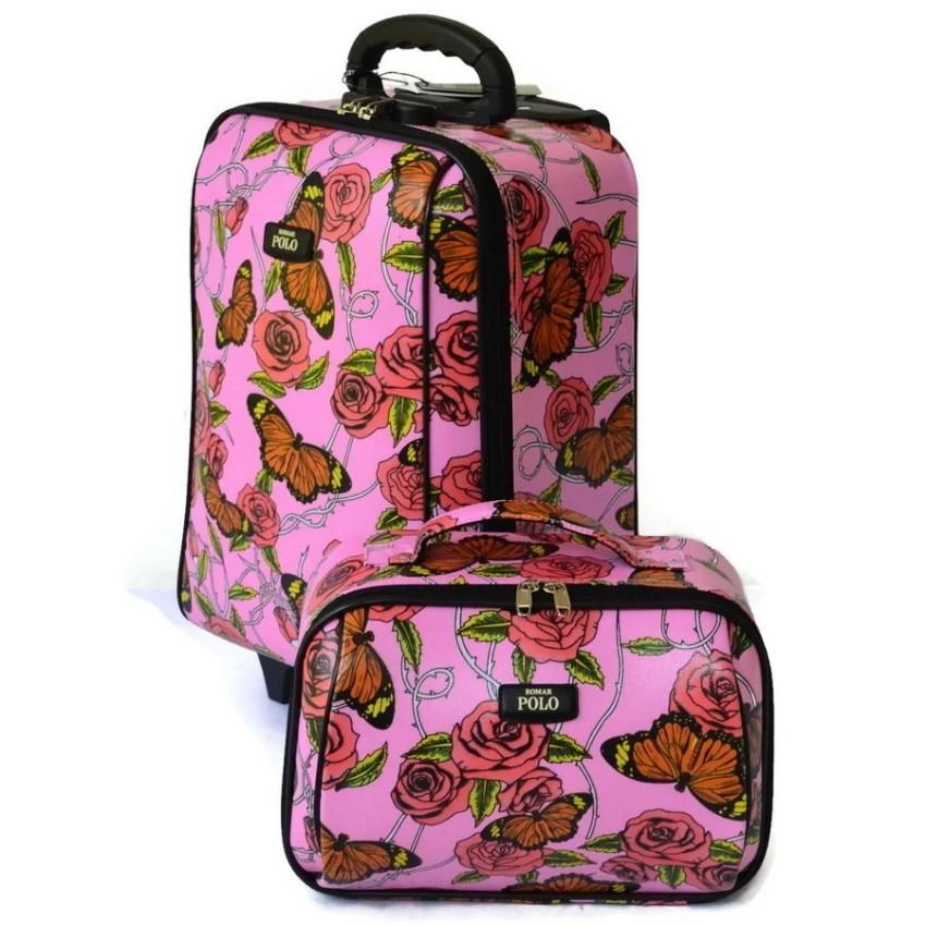 Romar Polo กระเป๋าเดินทาง 16/12 นิ้ว เซ็ทคู่ Code 369-40 Butterfly (Pink)