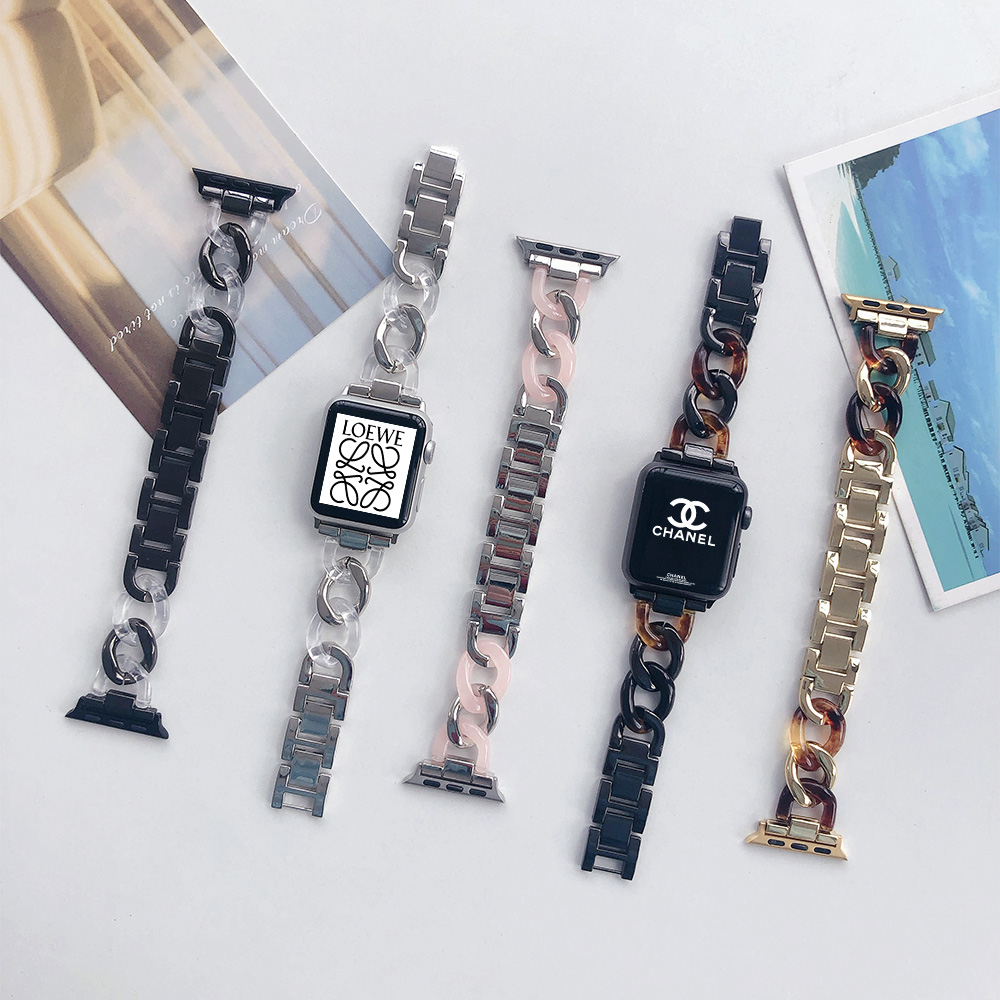 Fashion Denim Chain Resin applewatch band For Apple Watch Series 5 4 3 2 1 Watch Strap Bracelet Band iwatch Band 38/40 42/44mm
