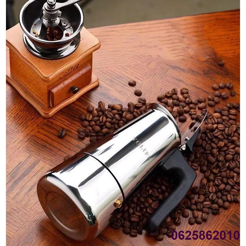 ✤หม้อกาแฟ หม้อต้มกาแฟสด เครื่องชงกาแฟเอสเพรสโซ่ มอคค่า กาต้มกาแฟสด เครื่องชงกาแฟสด เครื่องทำกาแฟ แบบปิคนิคพกพา สแตนเลส 3
