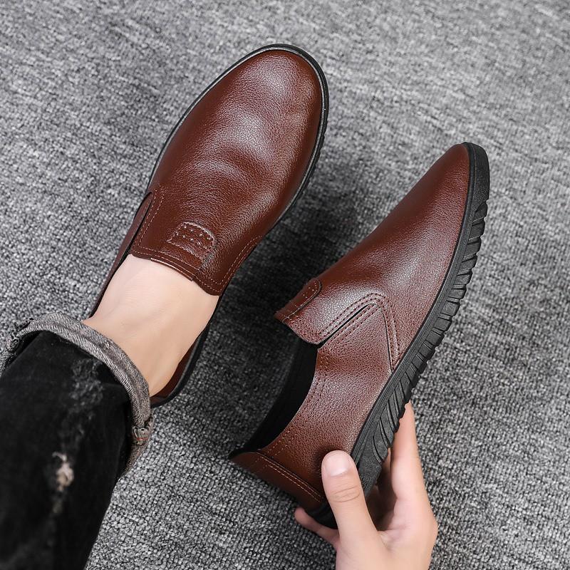 【ready stock 】รองเท้าโลฟเฟอร์หนัง สีดำ สำหรับผู้ชาย คัชชูผู้ รองเท้าหนัง เกาหลี รองเท้าผู้ แบบ สวม ไม่มี ส้น ผูกเชือก เสื้อผ้าแฟชั่น