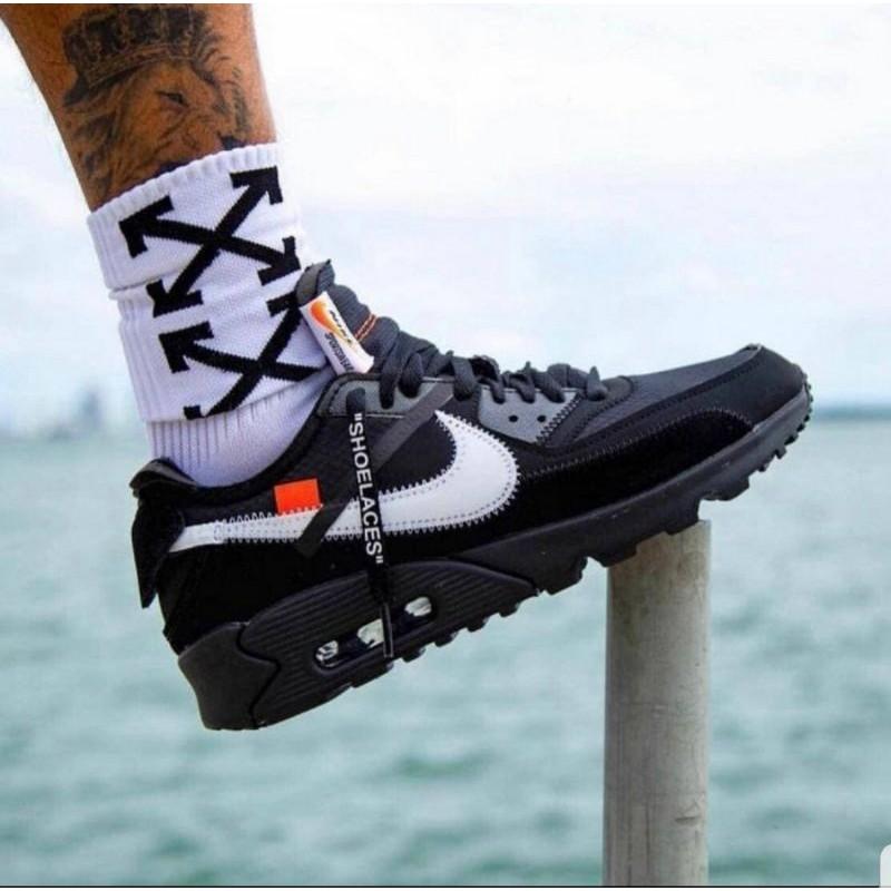 Nike Airmax 90 X Off รองเท้าผ้าใบลําลองสีขาวดํา