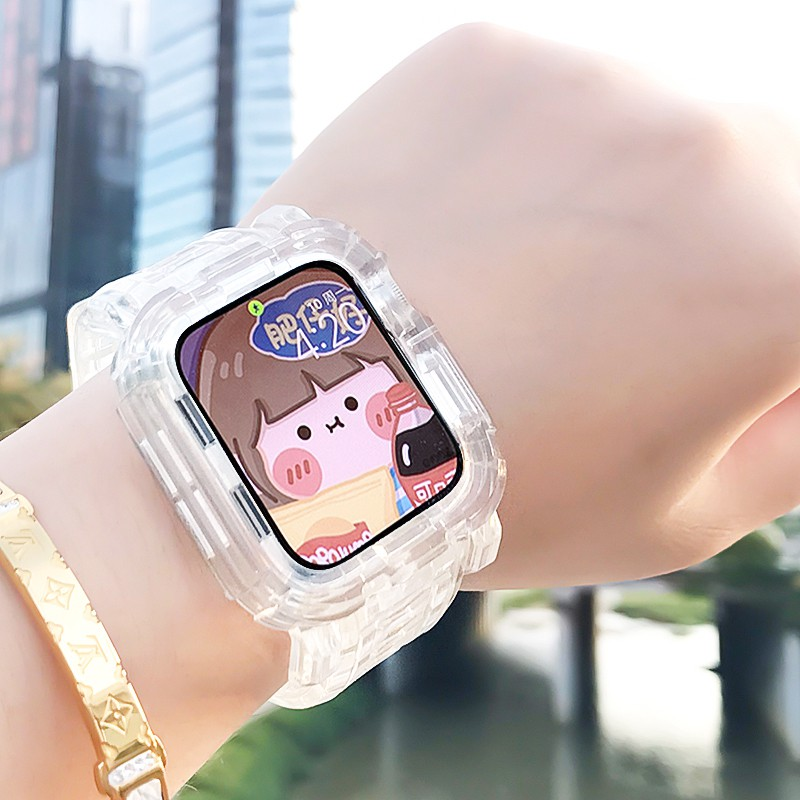 สาย applewatch✹✉สายรัด iwatch ที่ใช้งานได้ Casio ธารน้ำแข็งใสแบบบูรณาการเปลือกป้องกัน Apple watch สาย Applewatch 5/6 /