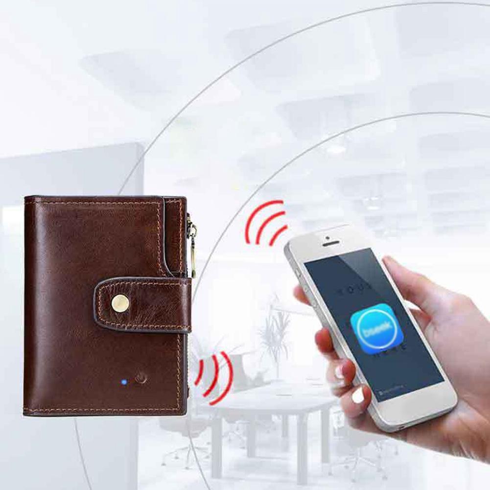6c0674d5a4bb Men Alarm GPS Locator Anti-theft Faux Leather Anti-lost Hasp Foldable Large  Capacity Smart Wallet Zipper Bluetooth