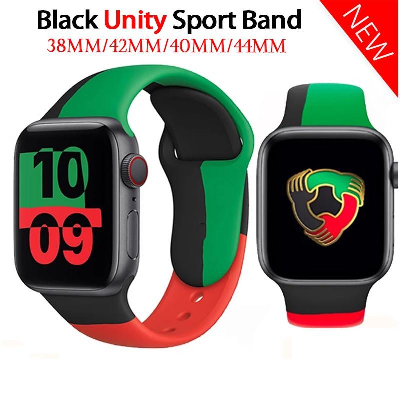 ✶black unity สาย applewatch สายนาฬิกาข้อมือ ซิลิโคน apple watch 44 มม 40 มม 38มม 42 มม iwatch series 6 SE 5 4 3 2 1▼