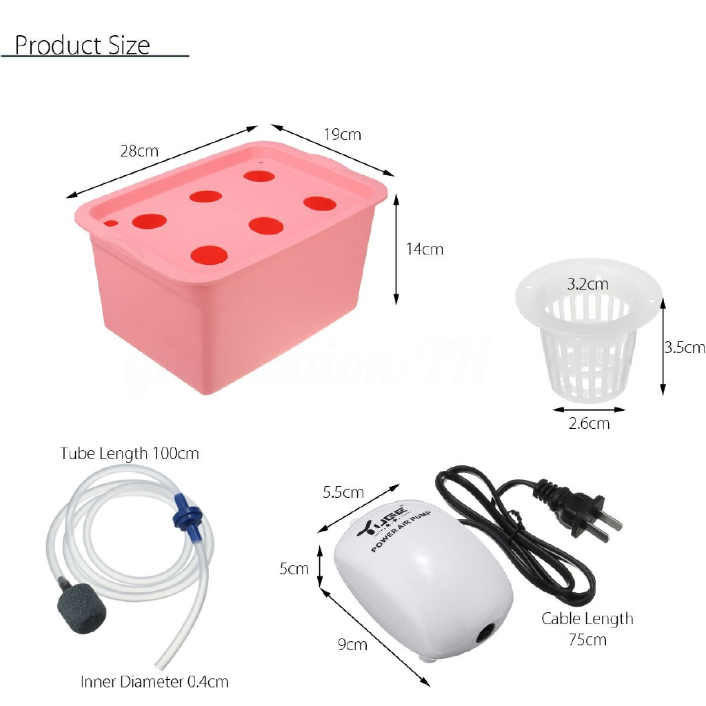 6 Plant Grow Site Deep Water Culture Hydroponic System Bubble Tub Air Pump  1