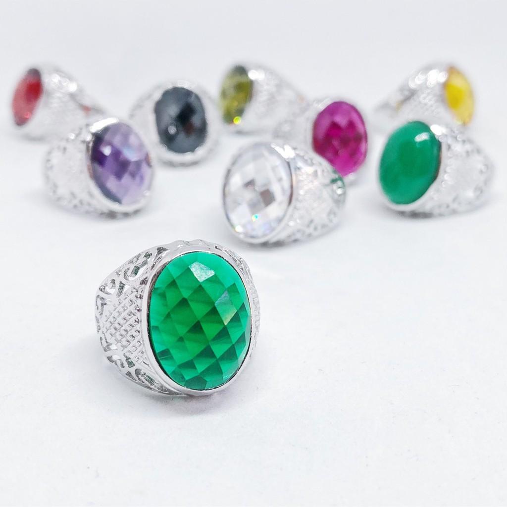 แหวนผู้ชาย พลอยสีเสริมบารมี ประจำวันเกิด เจียรหลังเต่า ชุบทองคำขาว ราคาพิเศษ