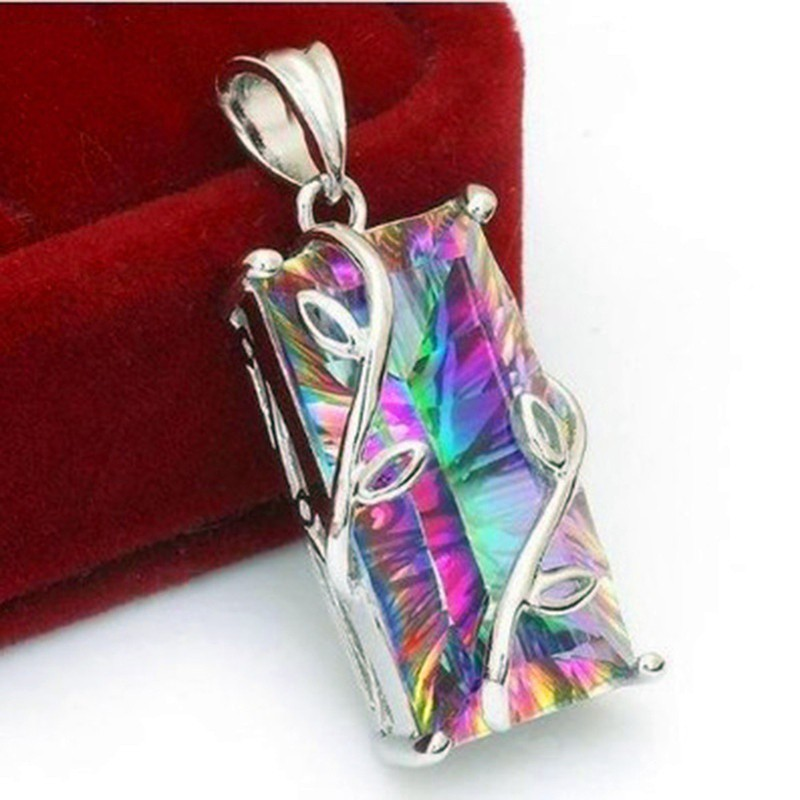 Women 925 Silver Mystic Rainbow Topaz Necklace Pendant with Chain Wedding Gift