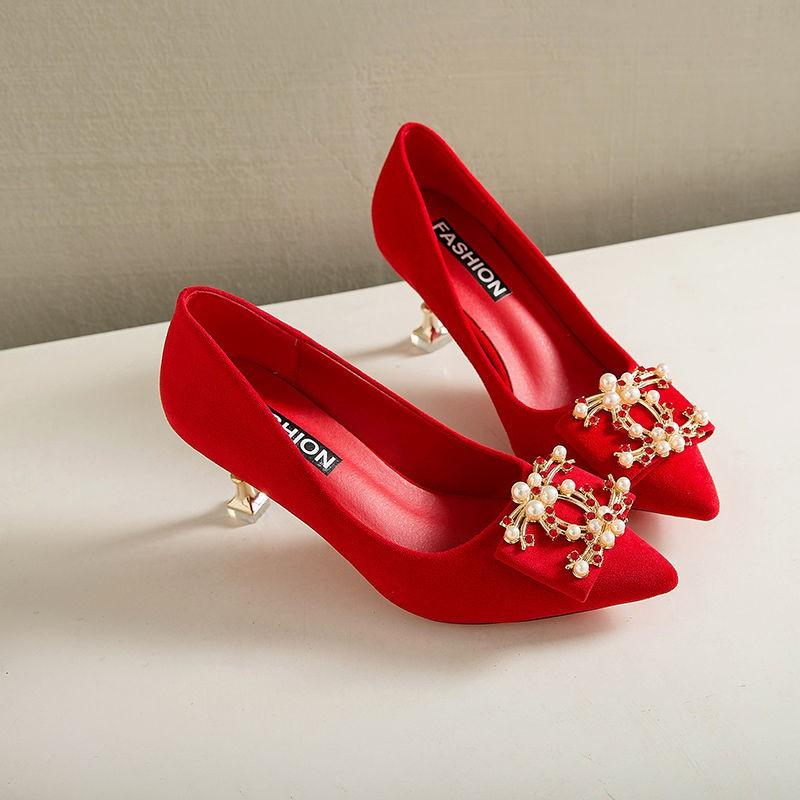 รองเท้าส้นสูง หัวแหลม ส้นเข็ม ใส่สบาย New Fshion รองเท้าคัชชูหัวแหลม  รองเท้าแฟชั่นสไตล์ใหม่รองเท้าผู้หญิงรองเท้าส้นสูงผ