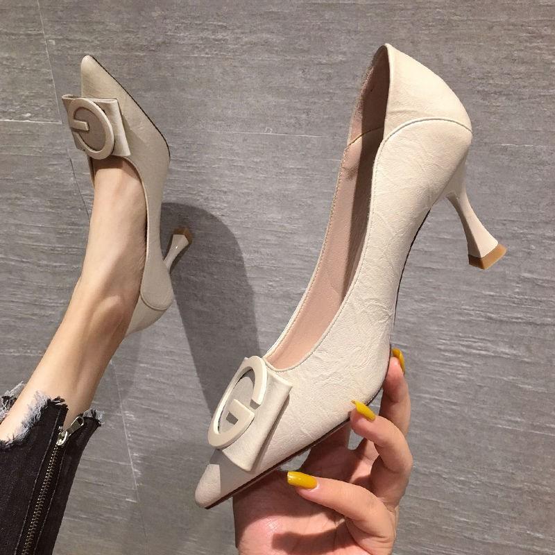 รองเท้าส้นสูง หัวแหลม ส้นเข็ม ใส่สบาย New Fshion รองเท้าคัชชูหัวแหลม  รองเท้าแฟชั่นสุภาพสตรีรองเท้าส้นสูงของผู้หญิงปีใหม