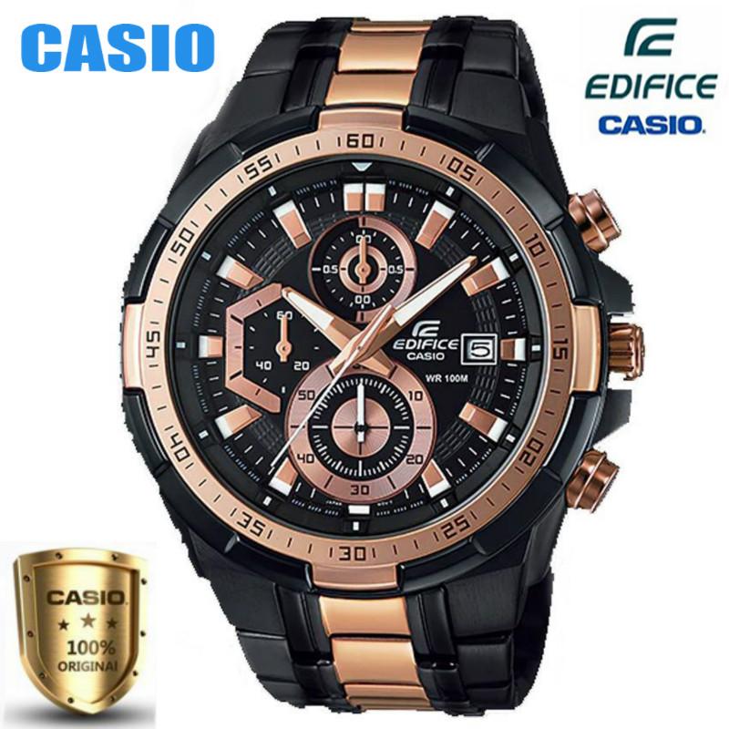 Casio Edifice นาฬิกาข้อมือผู้ชายสายสแตนเลส Fashion Business รุ่น EFR-539BKG-1AV-Black / Rose Gold รับประกัน 1 ปี (รับประ