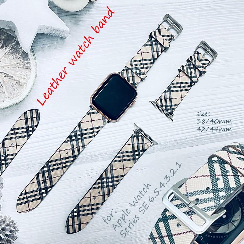 สาย applewatch สายนาฬิกา applewatch สาย Apple Watch สาย Apple สายนาฬิกาหนังสายนาฬิกา Burberry เหมาะสำหรับ Apple Watch se