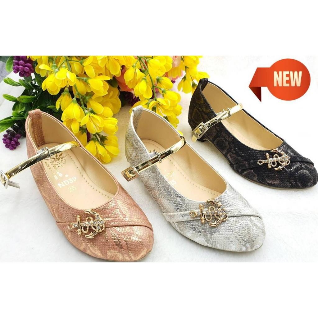 รองเท้าคัชชูสำหรับเด็กผู้หญิงรองเท้าแฟชั่นน่ารักใส่สบายมี3สีให้เลือกไชส์31-36