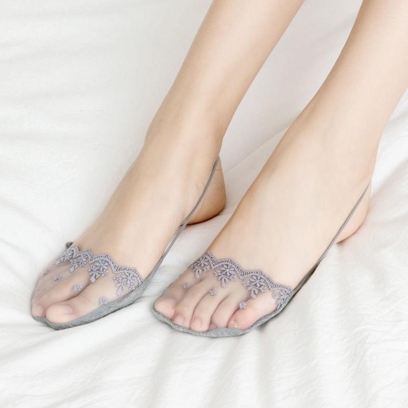 ถุงเท้าสั้น ถุงเท้าผู้หญิง ถุงเท้าคัชชู ถุงเท้าแฟชั่น ถุงเท้า ✦ถุงเท้าที่มองไม่เห็นรองเท้าส้นสูงผู้หญิงครึ่งฝ่ามือลูกไม้