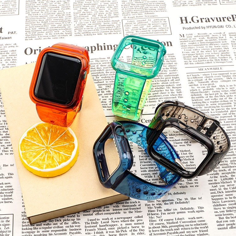 เคสนาฬิกา applewatchสำหรับสายนาฬิกา Apple Apple Watch 4/5/6รุ่นสากลรวมสายรัดโปร่งใสใหม่applewatch