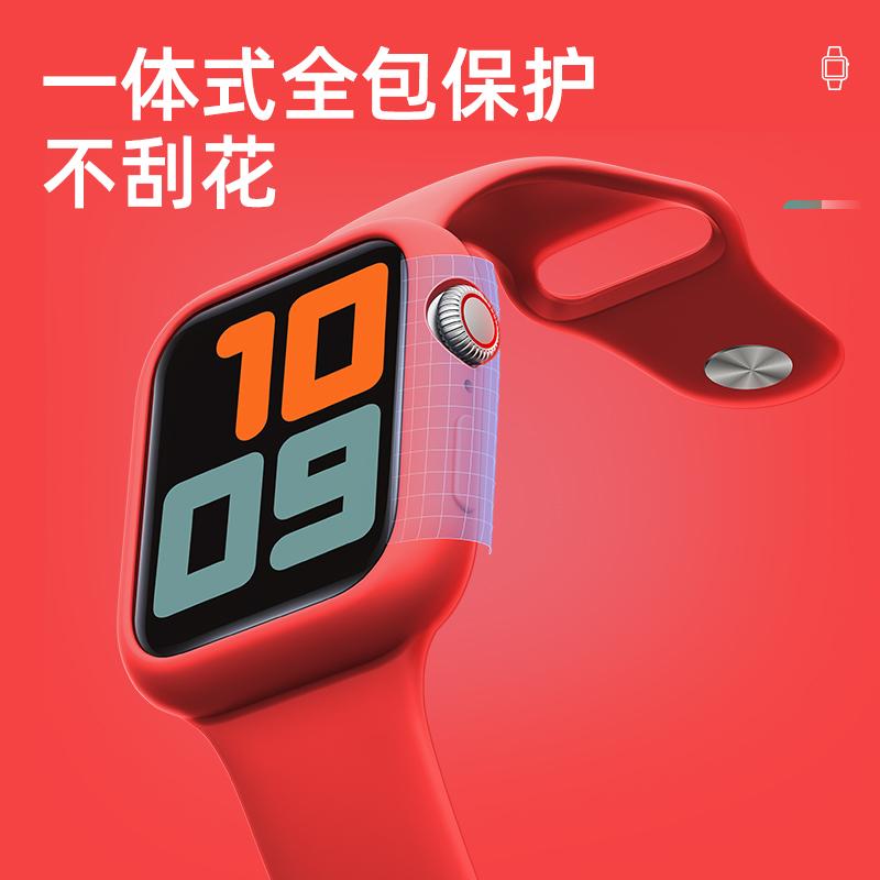 สาย apple watch iwatchสายรัดapple watch4S5รุ่น AppleSeries 6SSEนาฬิกาเคสซิลิโคนเหลว40/44mmรวมทุกอย่างกีฬาสายบุคลิกภาพสมา