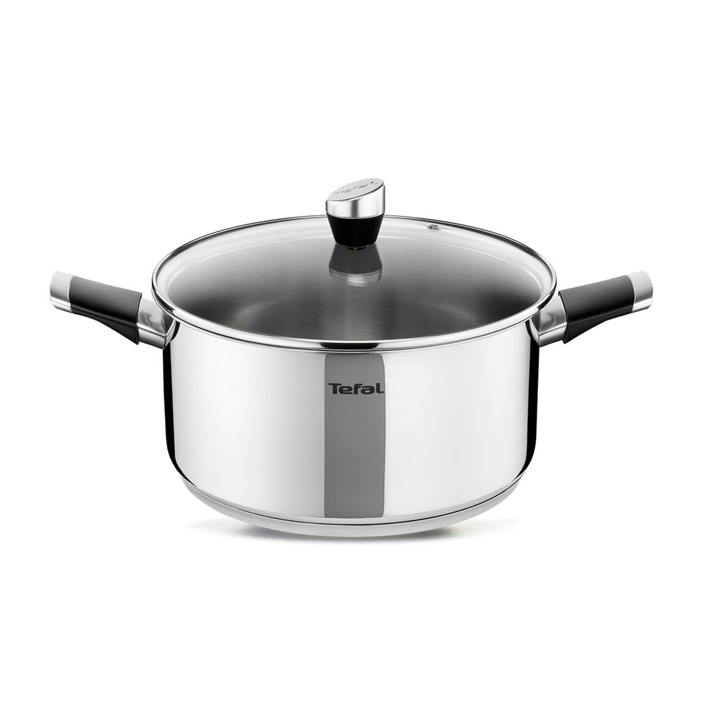 Tefal Emotion Stainless Steel Induction Stockpot (6.8L, 26cm) Dishwasher Oven Safe No PFOA Silver