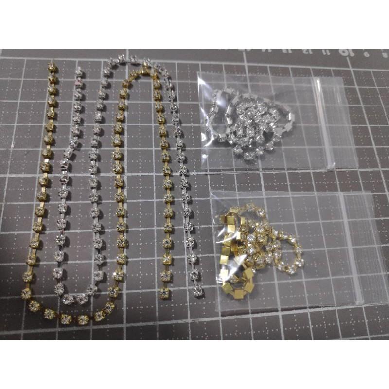 81พลอยเส้นขาวเพชร3มิลฐานเงินฐานทอง เบอร์ss12เส้นละ 30 ซม. ราคา9บาท