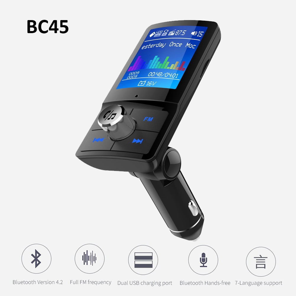 Bluetooth Car Hands-free FM Transmitter USB Car Charger Support TF Card//Aux-in