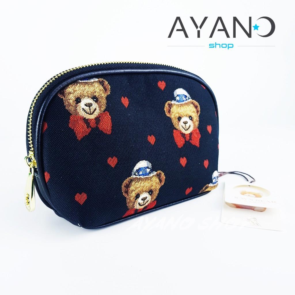 กระเป๋าเครื่องสำอาง Daivd Duke (TTWN BEAR) (สีดำหมีหัวใจ) **ใบใหญ่มาก
