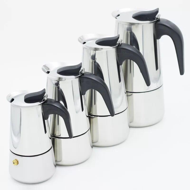 #R65 กาต้มกาแฟสดแบบพกพาสแตนเลส ขนาด 6 ถ้วยเล็ก 300 มล. หม้อต้มกาแฟแบบแรงดัน เครื่องทำกาแฟสด 300ml