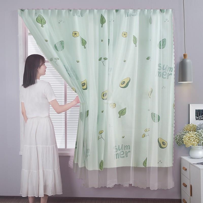 ◆☍ส่งจากไทย ผ้าม่านหน้าต่าง ผ้าม่านสำเร็จรูป ม่านประตู 2ชั้น ผ้าม่านโปร่งแสง ใช้ตีนตุ๊กแก