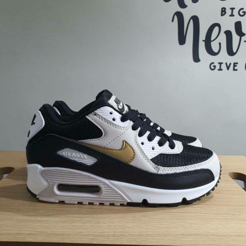Nike Airmax 90 รองเท้าผ้าใบแฟชั่นสีขาว/สีดํา/สีทอง