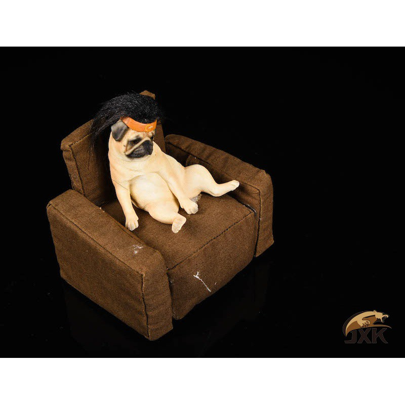 ◑Statue Action-Figure JXK Colletion with Sofa-Set Garage-Kit for 12inch DIY Decadent Dog-Pug