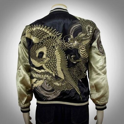 SUKAJAN แบรนด์แท้ญี่ปุ่น  Japanese Souvenir Jacket  แจ็คเกตซูกาจันลาย   Brigade Dragon and Phoenix