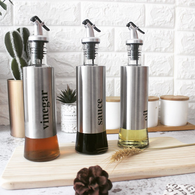 Stainless Steel Seasoning Bottle Kitchen Olive Oil Pot Soy Sauce Vinegar Pourer