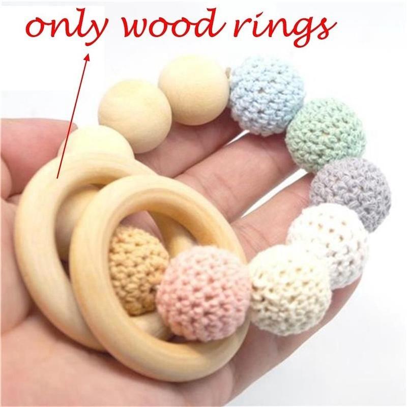 5PCS 70MM Wooden Teething Rings Connectors Circles DIY Crafts Natural Wood