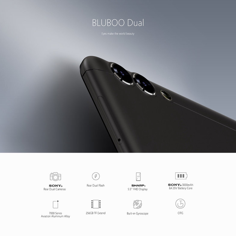 Bluboo Dual 5 5 Inch 1920*1080P Display Dual Rear Camera Fingerprint Phone