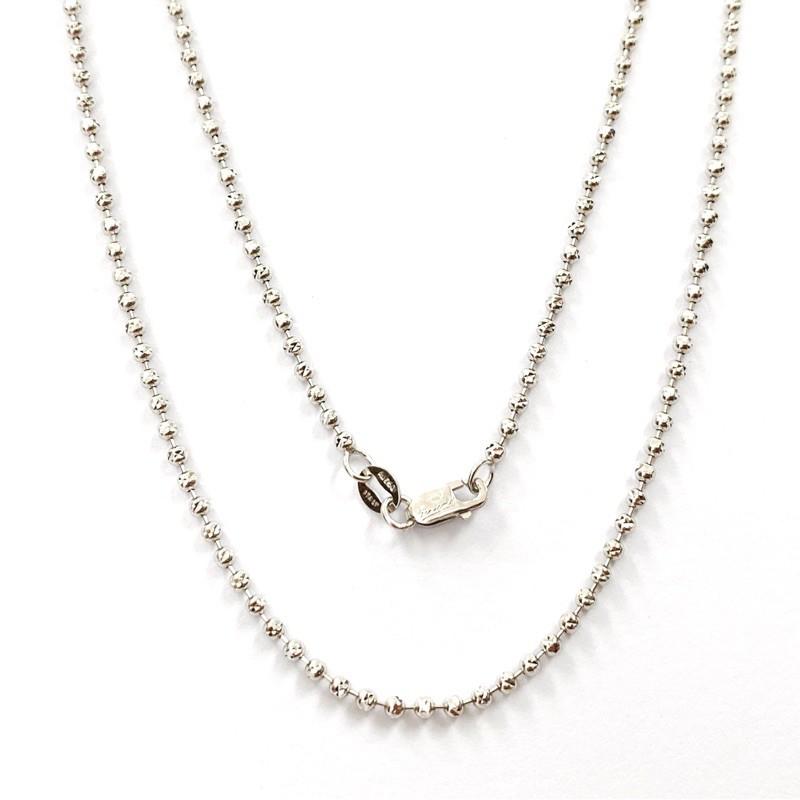 Princely สร้อยคอทองคำขาวแท้ 18K นำเข้าจากอิตาลี ลายเม็ดบีทเจียเหลี่ยมเพชร