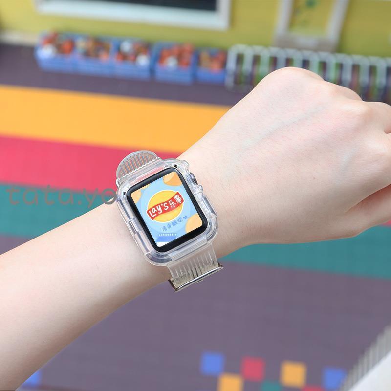 🌂🎣สายนาฬิกาข้อมือ Applewatch 5 / 6 Strap iwatch One-Piece สีใสสําหรับ Applewatch