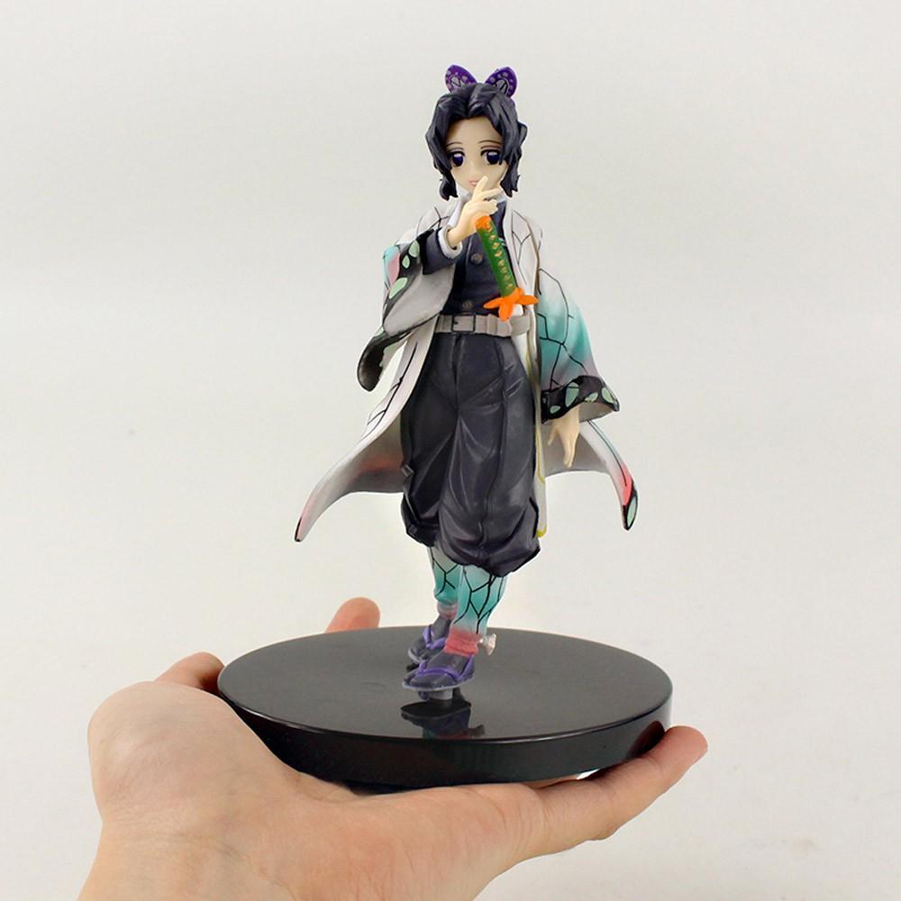 ™◕15cm Demon Slayer Kochou Shinobu Standing Yellow PVC Action Figure Kimetsu No Yaiba Tanjirou Nezuko Model Toys