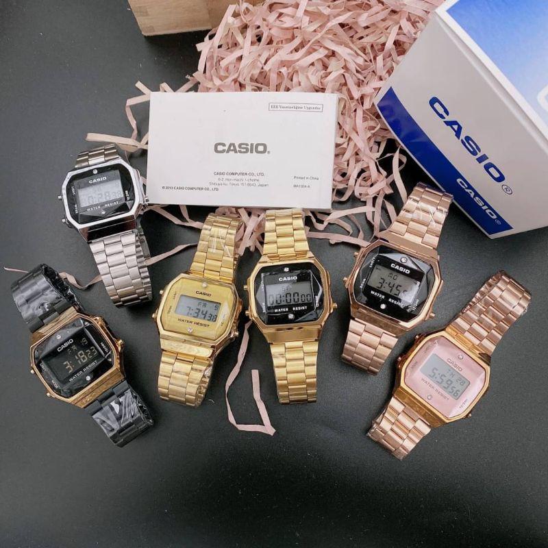 Casio นาฬิกาข้อมือผู้ชาย ผู้หญิง สายสแตนเลส พร้อมกล่อง