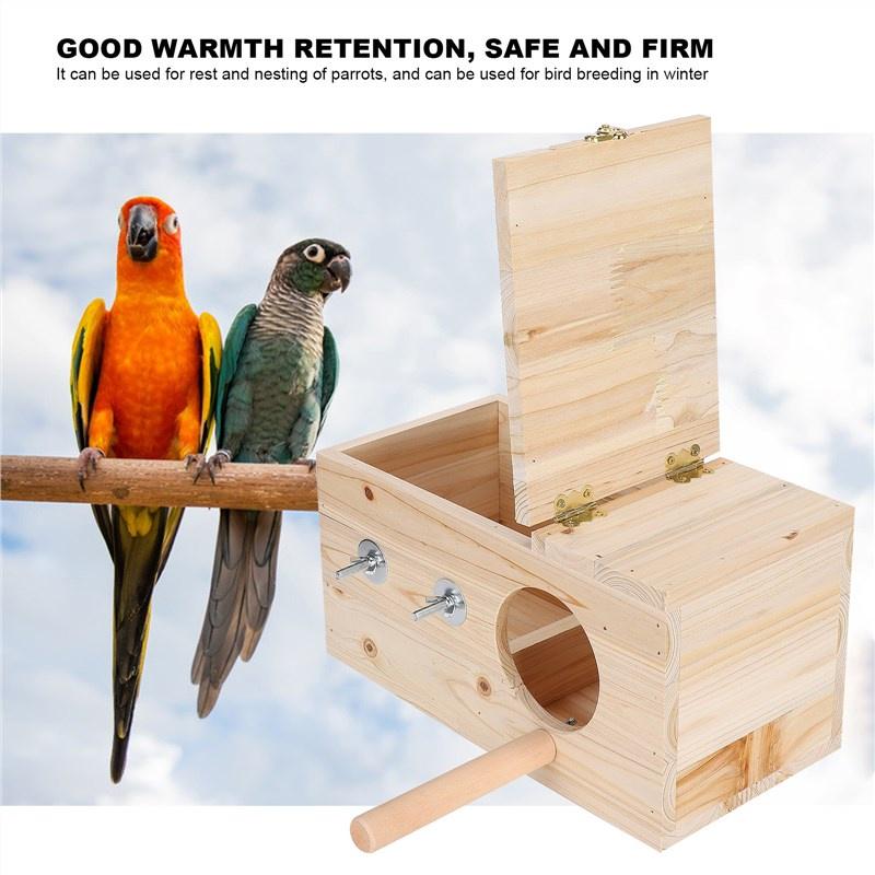 ✥♛▪กล่องเพาะพันธุ์นก, กล่องเพาะพันธุ์นกไม้ธรรมชาติกล่องผสมพันธุ์ Bird Cage Wood House Warm Nest กล่องสำหรับกระรอกนกแก้วท