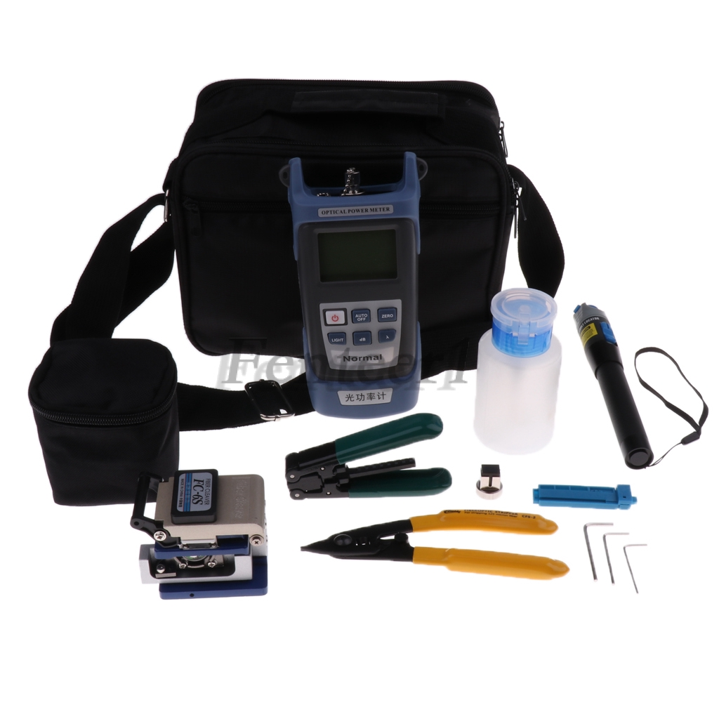 9-in-1 Fiber Optical FTTH Tools Power Meter, Optical Fiber Cleaver, Red Pen