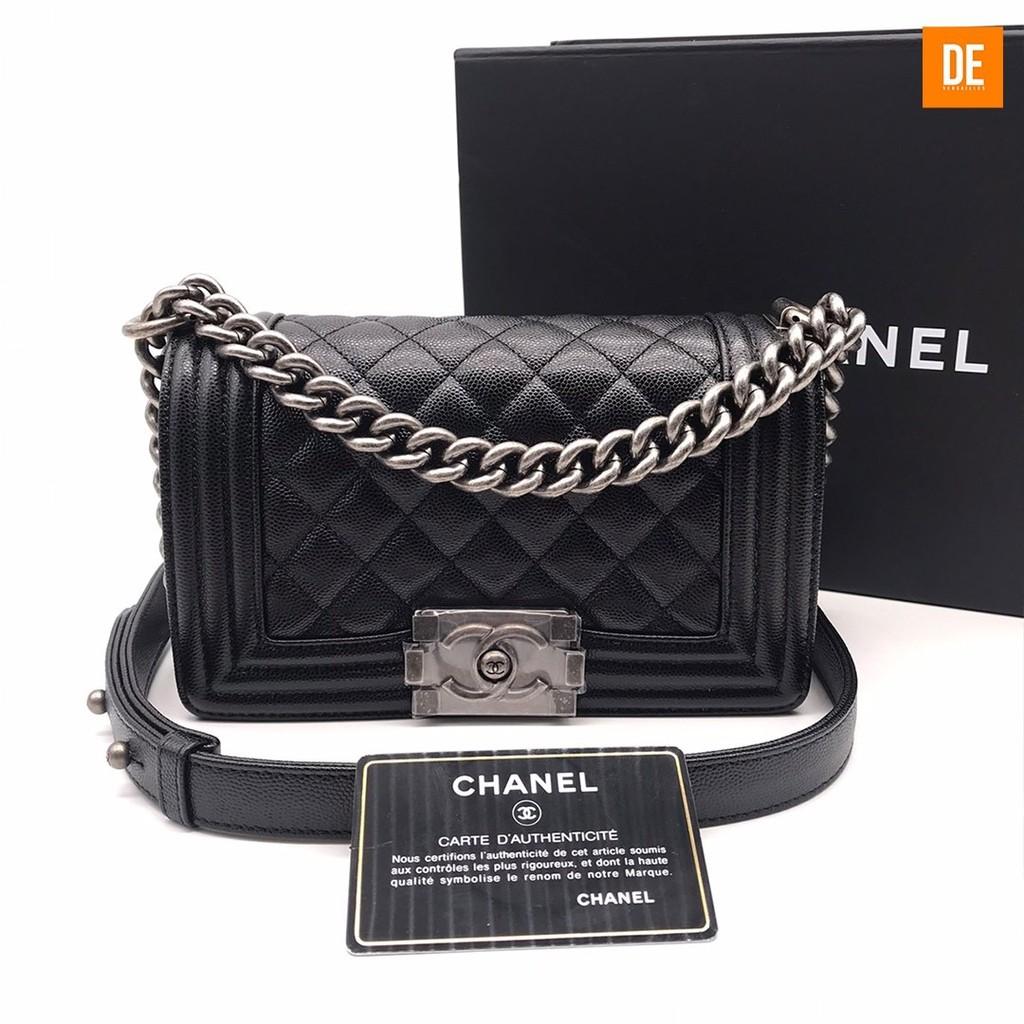 """กระเป๋าสะพาย New Chanel Boy8"""""""" black caviar rhw Holo29 fullset copy rec : GN1575A"""