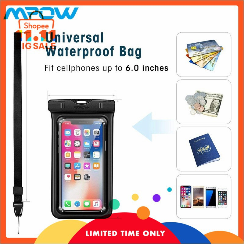 wholesale dealer 6970d 03734 Mpow Floating Waterproof Phone Pouch iPhone X/8/Galaxy/Google Pixe Black