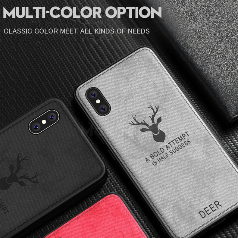 ... Christmas Deer Cloth Texture Case for iPhone XR XS MAX Phone Case Soft TPU Silicone Cover ...