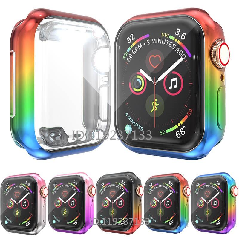 เคส Apple Watch Case 38mm 40mm 42mm 44mm Soft TPU ฝาครอบชุบสีสันสดใสสำหรับ iWatch Series SE 6/5/4/3/2/1