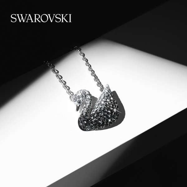 Swarovski Swan ไล่ระดับสีดำและสีขาว (ใหญ่) ไอคอน หงส์ สร้อยคอของผู้หญิง