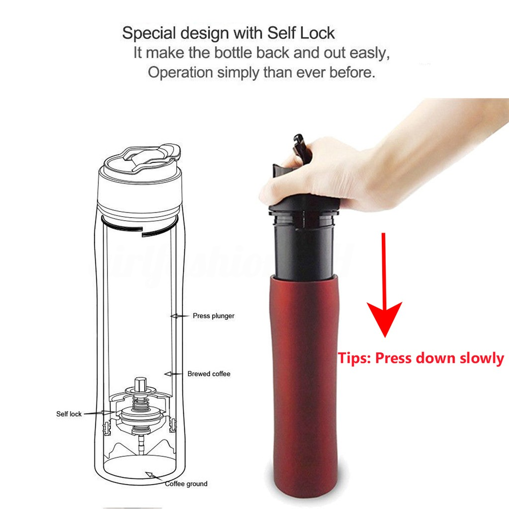 d3dab14c84f ... Self Lock Travel French Press Bottle Coffee Maker Insulated Cafetiere  Cup Mug_GF ...