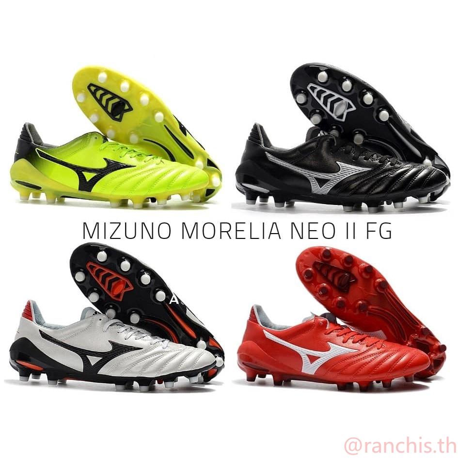[พร้อมกล่อง] แท้จริง ฟุตบอลซอคเกอร์รองเท้า MIZUNO MORELIA NEO II FG แดงดำน้ำเงินญี่ปุ่น