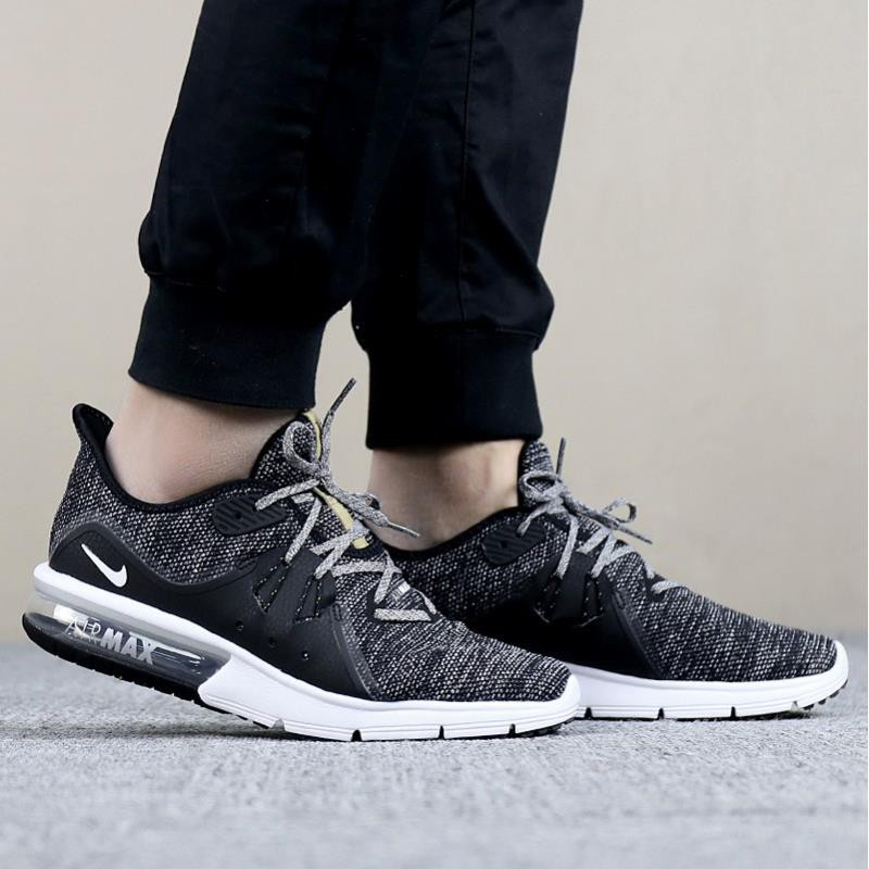 b74a1fdf6d Nike Air Max Sequent 3 เกล็ดหิมะสีดำและสีขาว Dark Grey Air Cushion 921694-011  Running Shoes