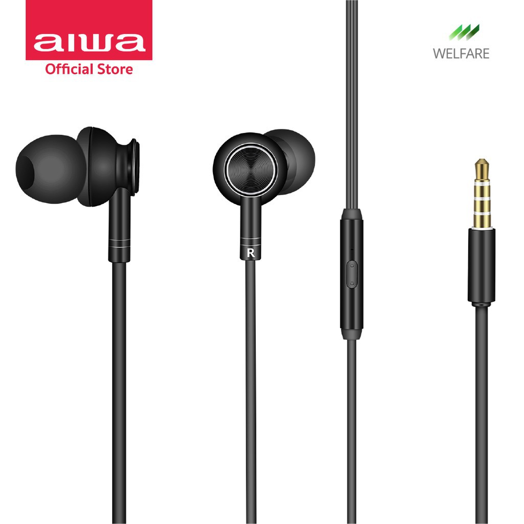 AIWA ESTM-100 Wired In-Ear Earphones หูฟังมีสาย 3.5 มม. ความยาวสาย 1.2 ม.