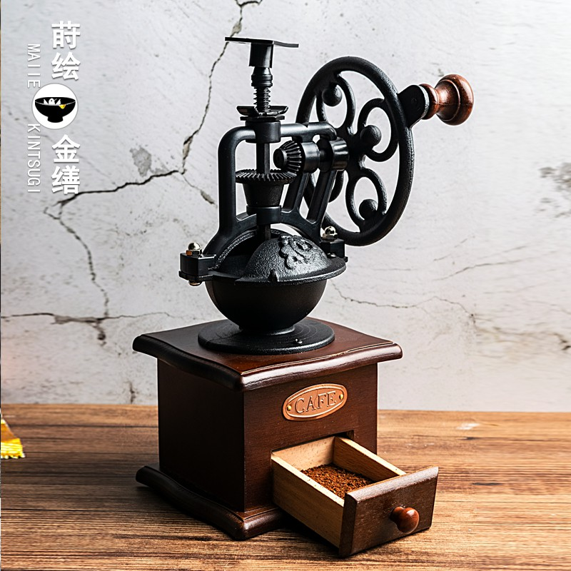 Hand-cranked grinder, coffee bean grinder, household grinder, small coffee machine, manual retro large wheel decoration