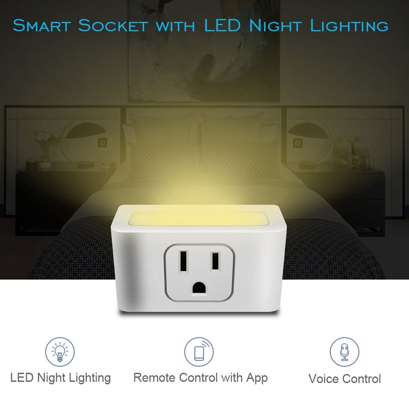LED Switch Smart Wall Mini WIFI US Remote Socket Lamp Control