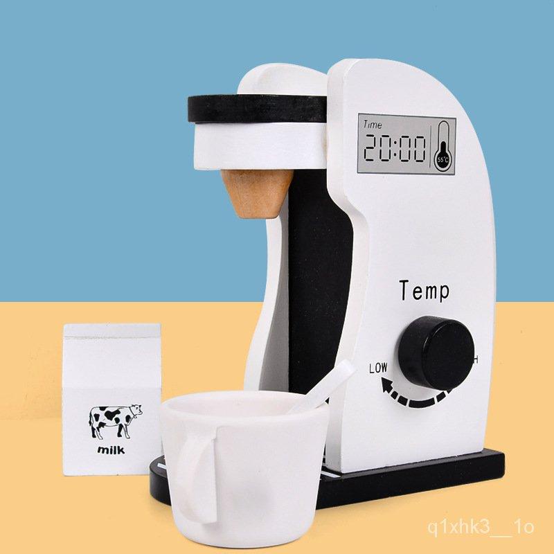 ขายร้อนไม้เด็กเล่นบ้านของเล่นจำลองเครื่องชงกาแฟเครื่องปั่นทำอาหารเครื่องครัวชุด lYPb