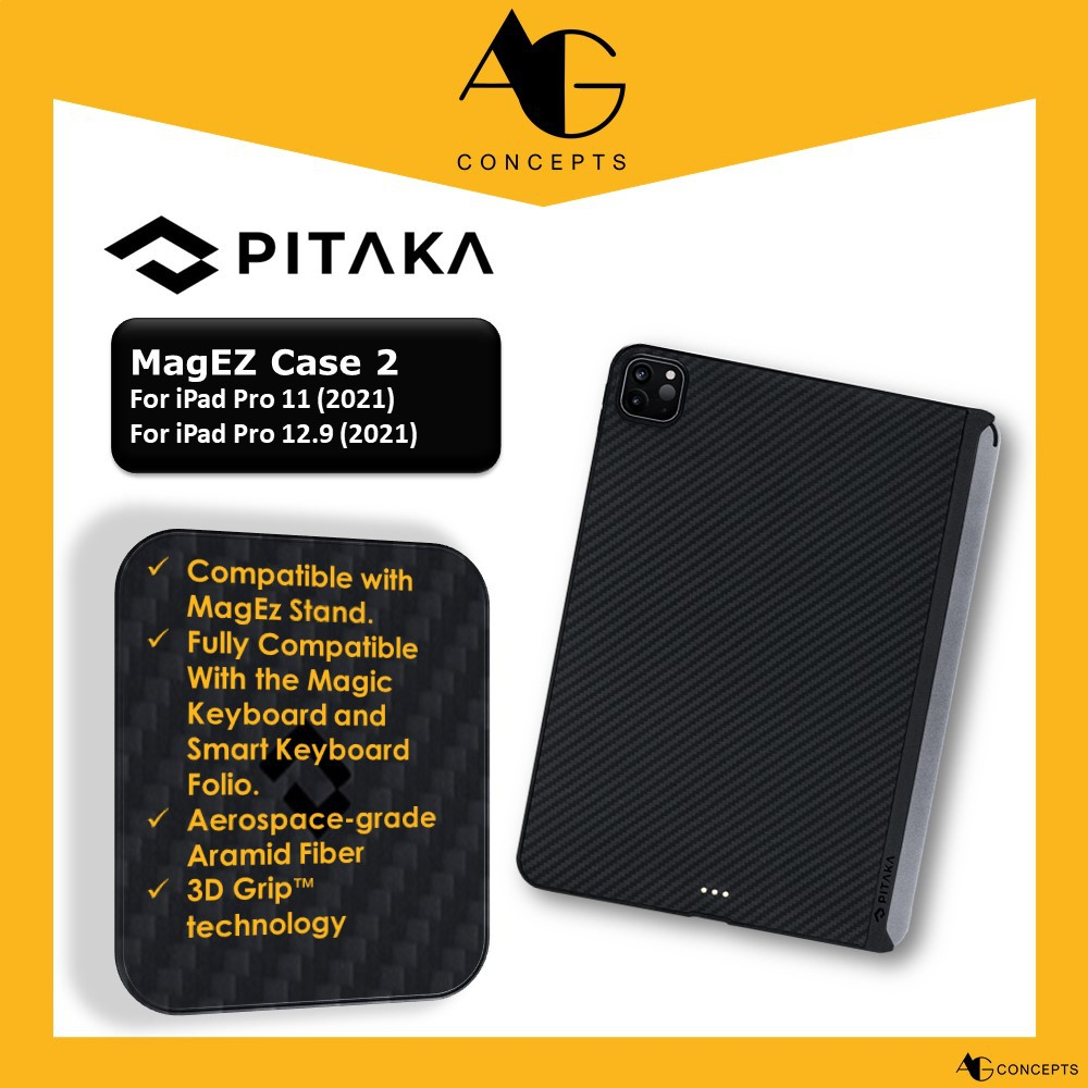 [AG Concepts] PITAKA iPad Pro 11 (2021) /12.9 (2021) MagEZ Case 2 Magnetic Case Ultra Slim Support Apple Pencil Charging